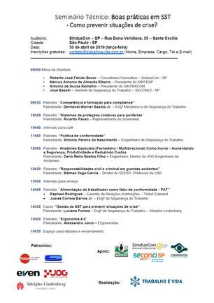 Seminário Técnico - Boas práticas em SST - São Paulo/SP - 30 de abril de 2019