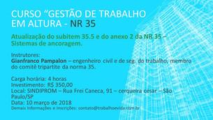 Curso Técnico de atualização do subitem 35.5 e do anexo 2 da NR 35 - Sistemas de Ancoragem - São Pau