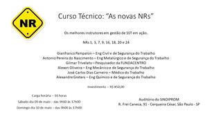 As novas NRs - 9 e 10 de maio - São Paulo