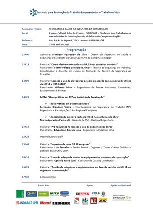 """""""SEGURANÇA E SAÚDE NA INDÚSTRIA DA CONSTRUÇÃO"""" - CAMPINAS/SP - 17/04/2015"""