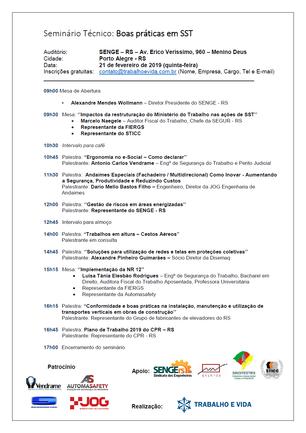 Seminário Técnico: Boas práticas em SST - Porto Alegre/RS - 21 de fevereiro de 2019