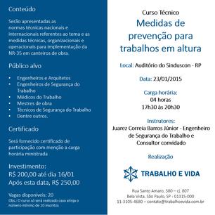 """""""MEDIDAS DE PREVENÇÃO PARA TRABALHOS EM ALTURA"""" - RIBEIRÃO PRETO/SP - 23/01/2015"""