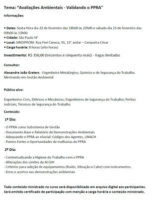"""Curso Técnico - São Paulo/SP - 22 de fevereiro de 2019 - """"Avaliações Ambientais - Validando o P"""