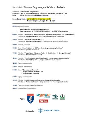 Seminário Técnico: Segurança e Saúde no Trabalho - São Paulo/SP - 06/12/2019
