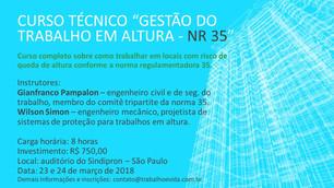 Curso Técnico - Gestão do Trabalho em Altura - NR 35 - São Paulo, 23 (sexta) e 24 (sábado) de março