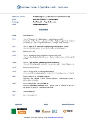 """""""TRABALHO SEGURO E SAUDÁVEL NA INDÚSTRIA DA CONSTRUÇÃO"""" - RIO DE JANEIRO/RJ - 28/01/2015"""