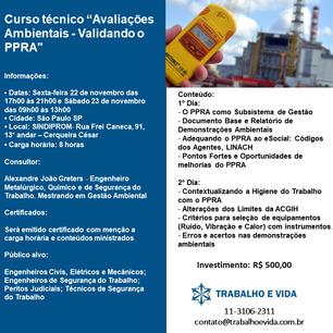 """Curso Técnico - São Paulo/SP - 22 e 23 de novembro de 2019 - """"Avaliações Ambientais - Validando"""