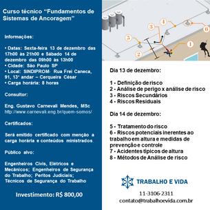 """Curso técnico - 13 e 14 de dezembro de 2019 - """"Fundamentos de Sistemas de Ancoragem"""""""