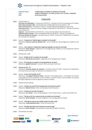 """""""TRABALHO SEGURO E SAUDÁVEL NA INDÚSTRIA DA CONSTRUÇÃO"""" - BRASÍLIA/DF - 26/03/2015"""