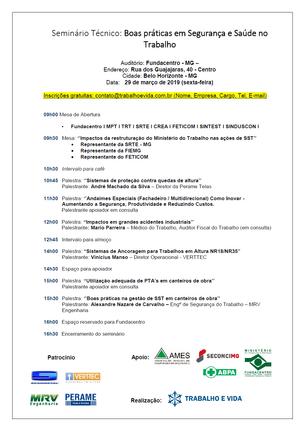 Seminário Técnico ''Boas práticas em SST''- Belo Horizonte/MG - 29.03.2019
