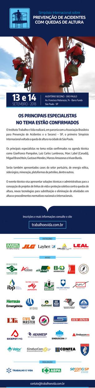 Simpósio Internacional sobre Prevenção de Acidentes com Quedas de Altura - São Paulo/SP - 13 e 14 de