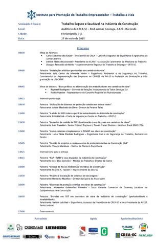 """""""TRABALHO SEGURO E SAUDÁVEL NA INDÚSTRIA DA CONSTRUÇÃO"""" - FLORIANÓPOLIS/SC - 27/05/2015"""