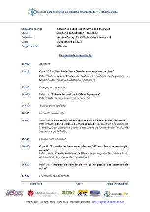 """""""SEGURANÇA E SAÚDE NA INDÚSTRIA DA CONSTRUÇÃO"""" - SANTOS/SP - 30/01/2015"""