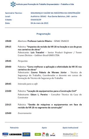 """""""SEGURANÇA E SAÚDE NA INDÚSTRIA DA CONSTRUÇÃO"""" - OSASCO/SP - 04/05/2015"""