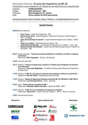 Seminário Técnico: 25 anos de tripartismo na NR 18 - Belo Horizonte/MG - 02/10/2018