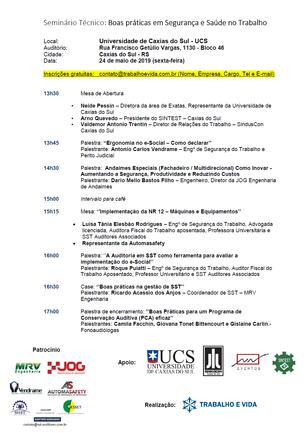 Seminário Técnico - Boas práticas em Segurança e Saúde no Trabalho - Caxias do Sul/RS - 24 de maio d