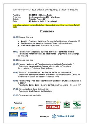 Seminário Seconci: Boas práticas em Segurança e Saúde no Trabalho - Ribeirão Preto/SP - 25 de junho