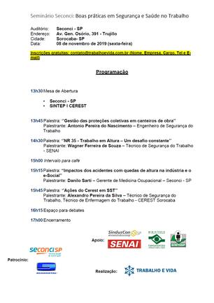 Seminário Seconci: Boas práticas em Segurança e Saúde no Trabalho - Sorocaba/SP - 08/11/2019