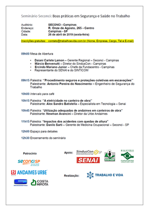 Seminário Seconci - Boas práticas em Segurança e Saúde no Trabalho - Campinas/SP - 26 de abril de 20