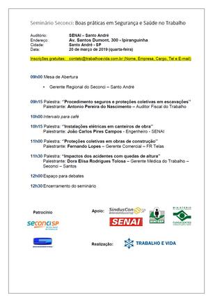 Seminário Seconci ''Boas práticas em SST'' - Santo André - 20.03.2019