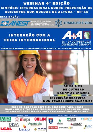 4ª EDIÇÃO - SIMPÓSIO INTERNACIONAL SOBRE PREVENÇÃO DE ACIDENTES COM QUEDAS DE ALTURA - NR 35