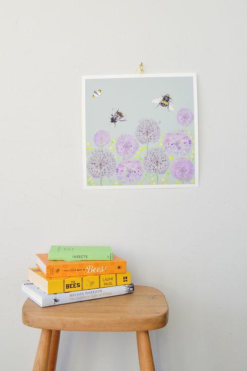 bee and allium giclee print