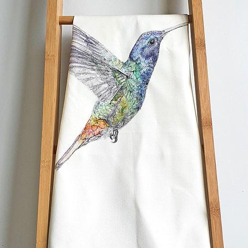 organic cotton hummingbird tea towel