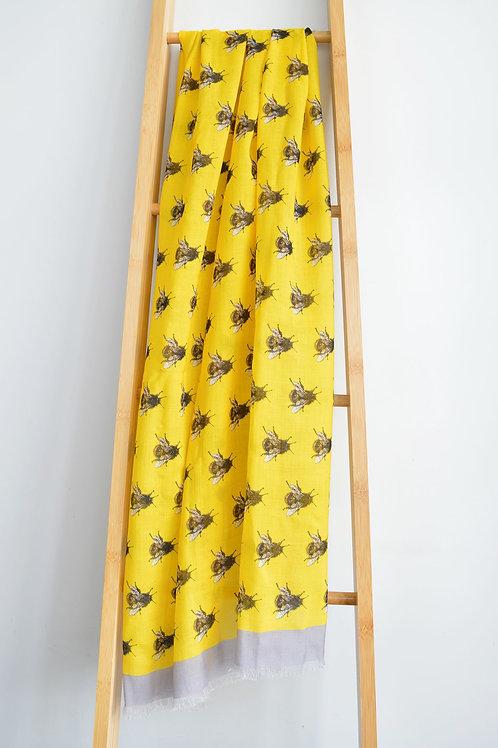 bee print wool scarf