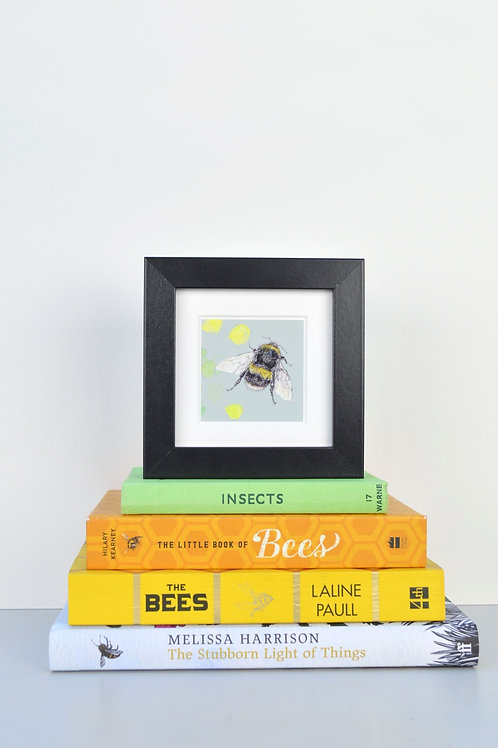 tiny wee framed bee print (coloured backgrounds)