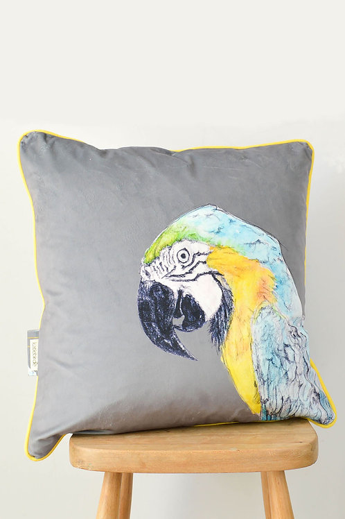 velvet parrot cushion