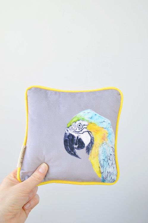 tiny wee velvet parrot cushion