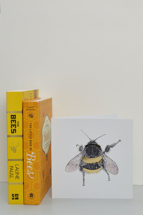 bee with gold stripes greetings card