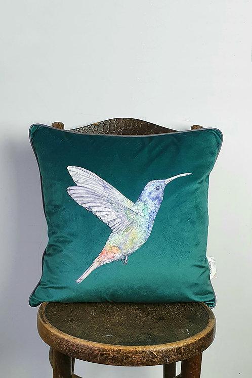 green velvet hummingbird cushion
