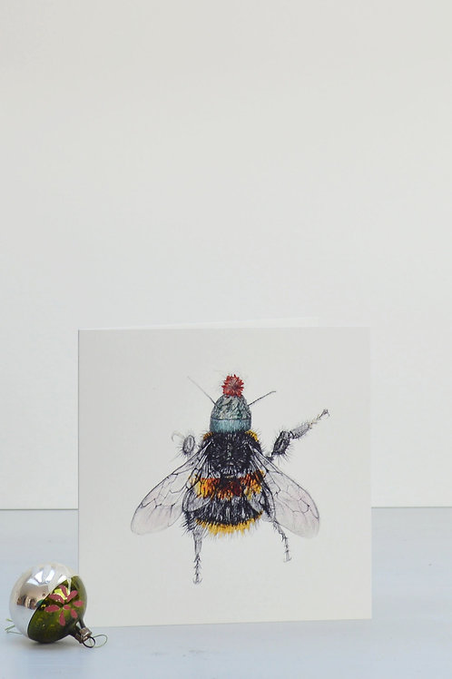 bee and woolly hat Christmas card