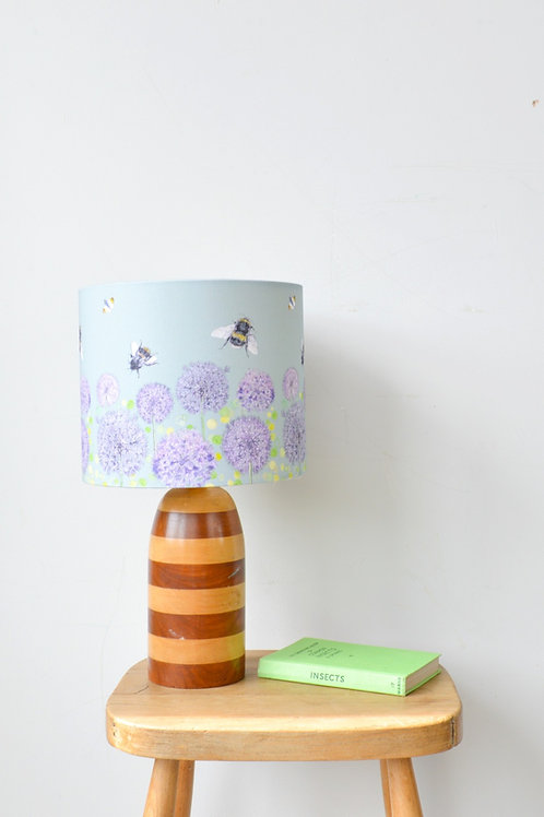green bee and allium pattern lampshade