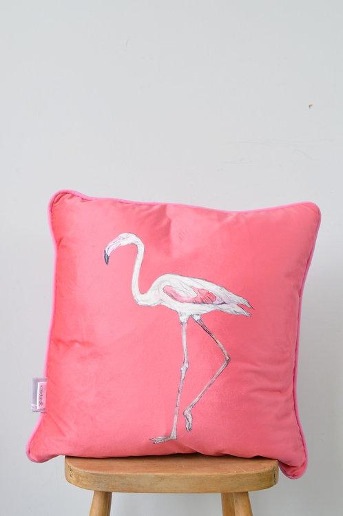 bright pink velvet flamingo cushion