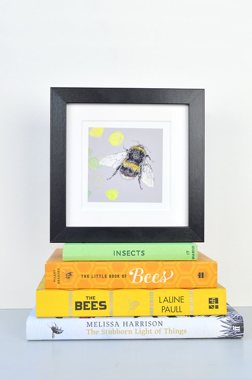 wee square framed bee print (coloured backgrounds)
