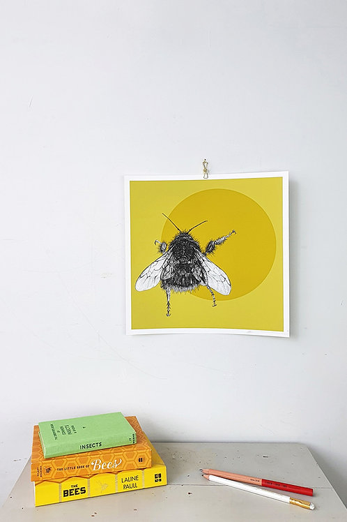 Bee and circle giclee print