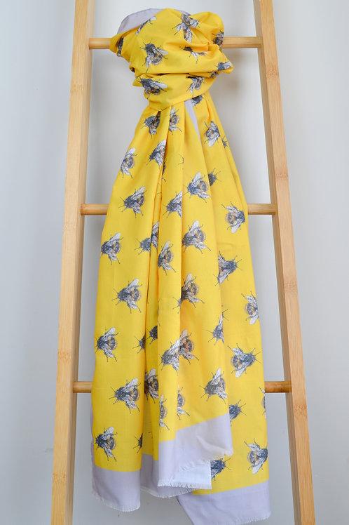 large yellow bee print scarf