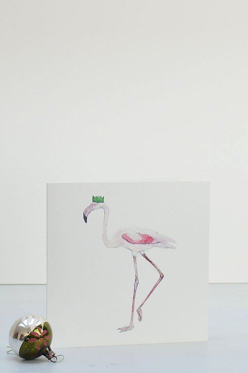 flamingo and party hat Christmas card
