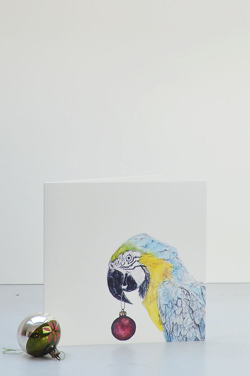 parrot and bauble Christmas card