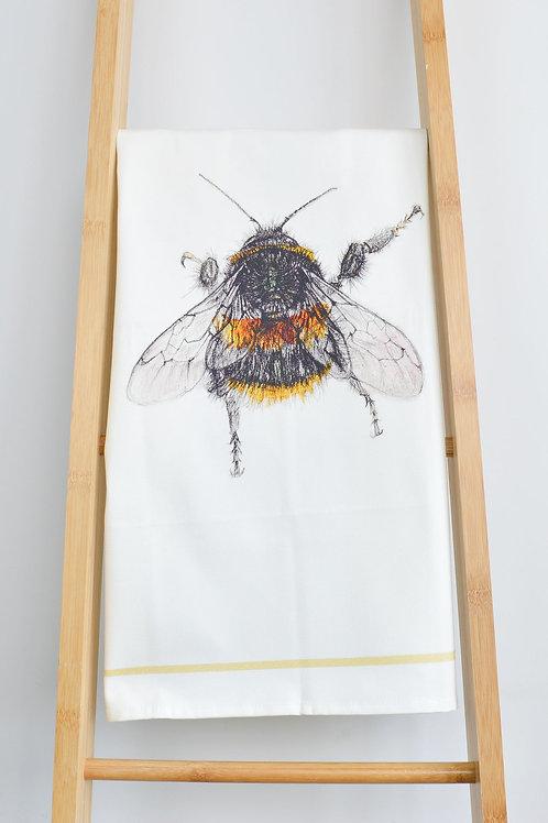 organic cotton bee tea towel