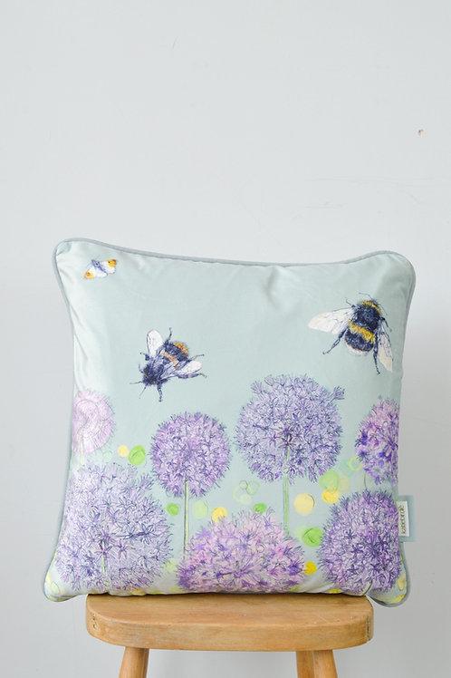 bee and allium cushion mint