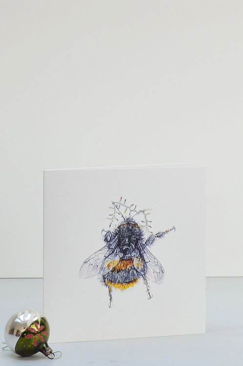 bee and fairy lights Christmas card
