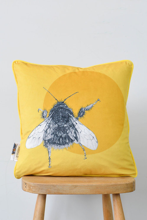 velvet bee and circle cushion (small)