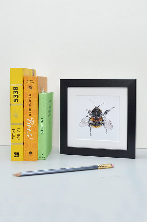 wee square framed bee print