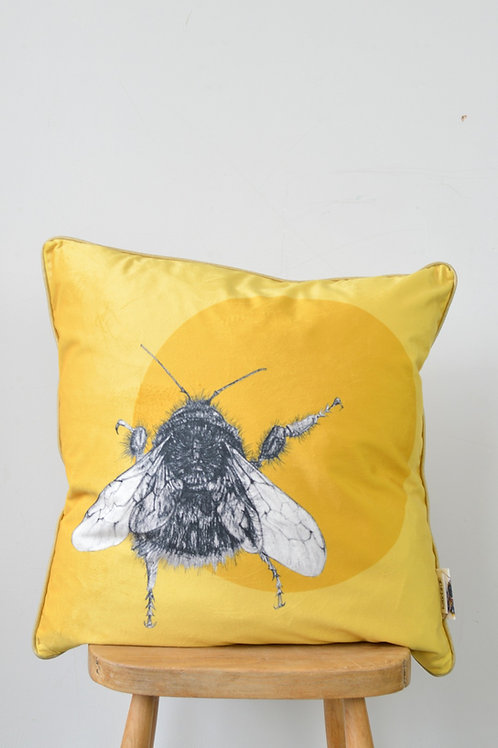 velvet bee and circle cushion (large)