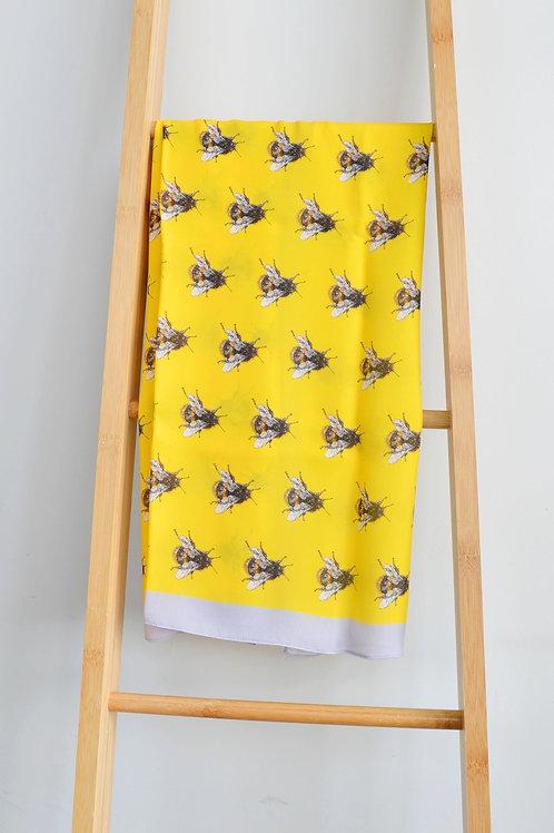 large yellow silk bee scarf