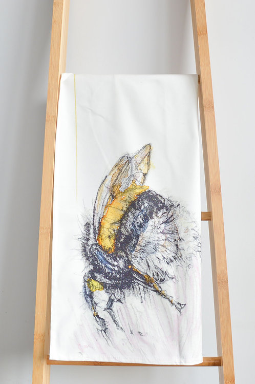 bee and flower tea towel