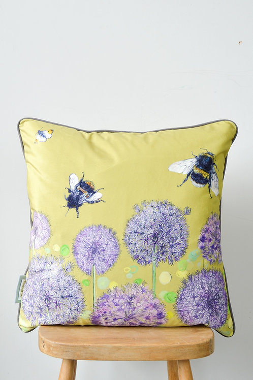 bee and allium cushion chartreuse